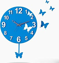 LIU-Schmetterling kreative leise Wanduhr