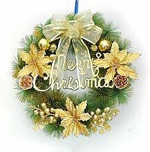 Liu Yu·kreativer Raum, Kranz Weihnachten Urlaub Fenster Ornamente Tür Trim Durchmesser 35cm ( Farbe : Gold )