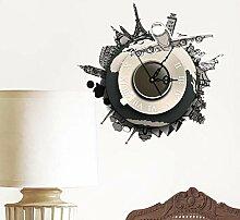 LIUXIAOJIE DIY 3D Wandaufkleber Uhr Welt Erde