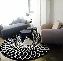 LiuXTaO Runde Teppich für Wohnzimmer Schlafzimmer Bettseite Zuhause Stuhl Groß Bereich Wolldecke Geometrisch Muster Schwarz Weiß Grau ( Farbe : Schwarz , größe : 120CM )