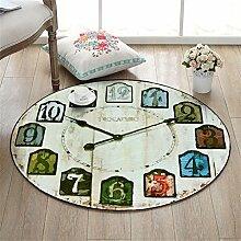 LiuXTaO Runde Teppich für Wohnzimmer Schlafzimmer Bettseite Zuhause Stuhl Groß Bereich Wolldecke Wanduhr Muster Kreativ Retro Stil ( Farbe : #5 , größe : 100cm )
