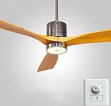 Liuyu · Deckenventilator beleuchtet Restaurant-Antike-Ventilator beleuchtet einfaches modernes hölzernes Blatt-Wohnzimmer mit LED-Deckenventilator-Wand-Steuerung / Fernbedienung 12W ( Farbe : Warmes Licht-Wall Control )