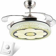 Liuyu · LED-Stealth-einziehbarer Deckenventilator beleuchtet Wohnzimmer-Schlafzimmer-Esszimmer-Haushalts-variable Frequenz-Ventilator-Lichter mit elektrischem Ventilator-Decken-Leuchter 36 Zoll 42 Zoll-Wand-Steuerung / Fernsteuerungsdimmen ( Farbe : Wall Control-91*43cm 48w )