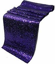 LIVA Home 1Stück Hochzeit 33x 274,3cm Pailletten Tischläufer Hochzeit Bankett Dekoration, violett, 13 X 108 INCH