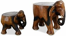 livasia Elefant aus Holz, Flacher Rücken,