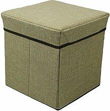 livecity 1Cube Stoff Aufbewahrung Bench Sofa Ottomane Sitz Zusammenklappbarer Fuß Hocker Fußstütze, Textil, khaki, Large