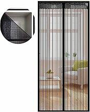 Liveinu Fliegengitter Tür Insektenschutz Magnet Fliegen Gitter Vorhang Fliegenvorhang für Balkontür Wohnzimmer Klettband Fassung Schwarz (Klettband version) 80x240cm
