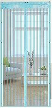 Liveinu Fliegengitter Tür Insektenschutz Magnet Fliegen Gitter Vorhang Fliegenvorhang für Balkontür Wohnzimmer Blau 70x240cm