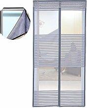 Liveinu Magnet Fliegengitter Tür Insektenschutz mit Klettband Fassung Moskitonetz Fliegenvorhang für Balkontür Wohnzimmer Schiebetür Terrassentür Klebmontage Ohne Bohren Grau 80x210cm