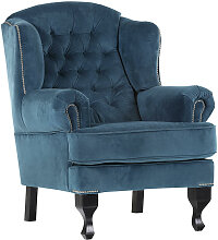 Livetastic CHESTERFIELD-SESSEL Velours Blau,