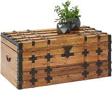 Livetastic TRUHE Holz, Metall Mangoholz massiv ,