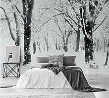 LIVEXZ DIY,3d Schnee Wald Tapete Wandbild für