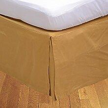 Living Box & Co 1Stück Plissee Bett Rock (Drop Länge 24cm) 100% echtem Ägyptische Baumwolle Premium Qualität 300Fadenzahl, Baumwolle/ägyptische Baumwolle, gold, Euro King IKEA size