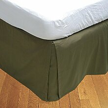 Living Box & Co 1Stück Plissee Bett Rock (Drop Länge 24cm) 100% echtem Ägyptische Baumwolle Premium Qualität 300Fadenzahl, Baumwolle/ägyptische Baumwolle, Moosgrün, Euro Double IKEA size