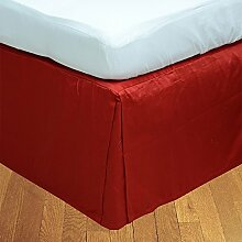 Living Box & Co 1Stück Plissee Bett Rock (Länge 22cm) 100% echtem Ägyptische Baumwolle Premium Qualität 300Fadenzahl, Baumwolle/ägyptische Baumwolle, Blutrot, Emperor(7'x7' 6'')