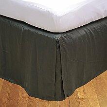 Living Box & Co 1Stück Plissee Bett Rock (Länge 23cm) 100% echtem Ägyptische Baumwolle Premium Qualität 300Fadenzahl, Baumwolle/ägyptische Baumwolle, Elephant Grey, Emperor(7'x6'6'')