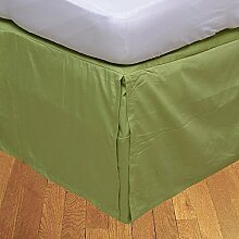 Living Box & Co 1Stück Plissee Bett Rock (Länge 25cm) 100% echtem Ägyptische Baumwolle Premium Qualität 300Fadenzahl, Baumwolle/ägyptische Baumwolle, Graugrün, Emperor(7'x7' 6'')
