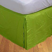 """Living Box & Co 1Stück Plissee Bett Rock (Länge 32cm) 100% echtem Ägyptische Baumwolle Premium Qualität Fadenzahl 400, Baumwolle/ägyptische Baumwolle, Parrot Green, UK Small Single Long (2ft 6"""""""" x 6ft 6"""""""")"""
