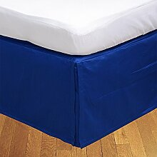 Living Box & Co 1Stück Plissee Bett Rock (Länge 33cm) 100% echtem Ägyptische Baumwolle Premium Qualität 300Fadenzahl, Baumwolle/ägyptische Baumwolle, königsblau, Emperor(7'x7' )