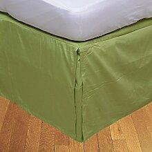 Living Box & Co 1Stück Plissee Bett Rock (Länge 33cm) 100% echtem Ägyptische Baumwolle Premium Qualität 300Fadenzahl, Baumwolle/ägyptische Baumwolle, Graugrün, Emperor(7'x7' )