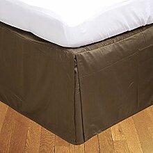 Living Box & Co 1Stück Plissee Bett Rock (Länge 33cm) 100% echtem Ägyptische Baumwolle Premium Qualität 300Fadenzahl, Baumwolle/ägyptische Baumwolle, mokka, Emperor(7'x7' 6'')