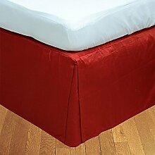 Living Box & Co 1Stück Plissee Bett Rock (Länge 37cm) 100% echtem Ägyptische Baumwolle Premium Qualität 300Fadenzahl, Baumwolle/ägyptische Baumwolle, Blutrot, Emperor(7'x7' 6'')