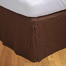 Living Box & Co 1Stück Plissee Bett Rock (Länge 41cm) 100% echtem Ägyptische Baumwolle Premium Qualität 300Fadenzahl, Baumwolle/ägyptische Baumwolle, schokoladenbraun, Euro Double IKEA size