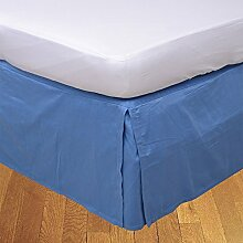 Living Box & Co 1Stück Plissee Bett Rock (Länge 41cm) 100% echtem Ägyptische Baumwolle Premium Qualität 300Fadenzahl, Baumwolle/ägyptische Baumwolle, Mittelblau, Emperor(7'x7' )