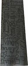 Living Design Küchenteppich mit Aufschrift, Farbe: Grau, waschmaschinenfest, rutschfest 50 x 200 schwarz