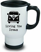Living the Dream Metall Thermobecher Camper Hobby Camping Geschenkidee, Schwarz