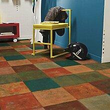 livingfloor® PVC Bodenbelag Mediterranes Fliesendekor Terracottafliesen Mehrfarbig 2m Breite, Länge variabel Meterware, Größe:17.00x2.00 m