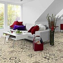 livingfloor® PVC Bodenbelag Shabby Retro Fliesenoptik Mediterran Schwarz/Weiss 2m Breite, Länge variabel Meterware, Größe: 15.00x2.00 m