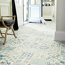 livingfloor® PVC Bodenbelag Shabby Retro Fliesenoptik Mediterran Blau 2m Breite, Länge variabel Meterware, Größe:3.00x2.00 m