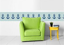 Livingstyle & Wanddesign Vlies Bordüre selbstklebend maritim nautical sailor pirate Anker zick zack