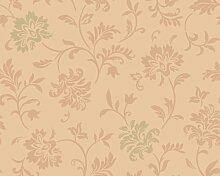 Livingwalls Tapete Classic Fleece, Mustertapete, floral, klassisch, textilähnliche Oberfläche, metallic, orange, 665713