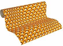 Livingwalls Vliestapete Harmony in Motion by Mac Stopa Tapete grafisch 3D-Optik Netzmuster 10,05 m x 0,53 m grau metallic orange Made in Germany 327074 32707-4