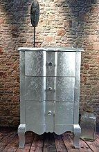 Livitat® Kommode Silber mit 3 Schubladen H75 cm