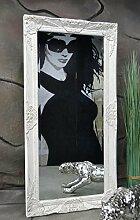 Livitat® Wandspiegel Spiegel Badspiegel barock antik Weiß 100 x 50 cm