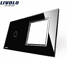 Livolo Luxury Black Crystal Glass, 151mm*80mm, EU standard, 1Gang &1 Frame Glass Panel, VL-C7-C1/SR-12