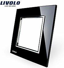 Livolo Luxury Black Pearl Crystal Glass, 80mm*80mm, EU standard DIY Part Of Switch Socket , Single Glass Panel ,VL-C7-SR-12