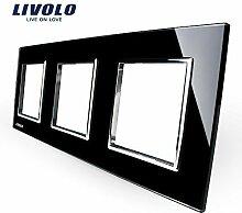 Livolo Luxury Black Pearl Crystal Glass, EU standard, Triple Glass Panel For Wall Touch Switch,VL-C7-SR/SR/SR-12