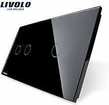 Livolo Luxury Pearl Black, Just Glass 151mm*80mm, EU standard, Double Glass Panel 2+1 gang,VL-C7-C2/C1-12