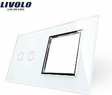 Livolo Luxury White Pearl Crystal Glass, 151mm*80mm, EU standard, 2Gang &1 Frame Glass Panel, VL-C7-C2/SR-11