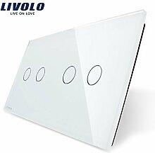 Livolo Luxury White Pearl Crystal Glass,151mm*80mm, EU standard, Double Glass Panel VL-C7-C2/C2-11