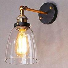 LIVY Vintage American Land antiker Edison Lampe glockenf?rmigen Glas Wandleuchte