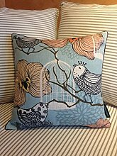 LiWan Baumwolle große Serien von Vögeln und duftenden Blumen continental Kissen der Nordischen Wohnzimmer amerikanische Kissen modernes Sofa mit Blumen und Vögel auf dem Kissen -, 44 * 44 cm Jacke, die einzige Krone Birdie