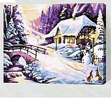 LIWEIXKY Rahmenlos Weihnachten Schnee Kabine