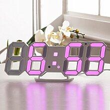 Lixada Digital LED Tisch Wanduhr/LED Digital Wecker mit Einstellbarer Helligkeit Funktion für Schreibtisch Wand Bett, Einzelteilgröße: 24 * 9.4 * 1.7cm.