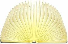 Lixada Klapp Buch Lampe,Stimmungsbeleuchtung,Nachttischlampe Warmweiß aus Holz,Papier mit USB-Kabel,Batteriebetriebene 500LM/2500mAh,360°Faltbar
