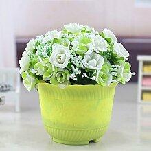 LIXIAOXIN Simulation Rose Falsche Blumen Ornamente Wohnzimmer Haus Einrichtung Kunststoff Topfpflanzen Set Zubehör Weiß C